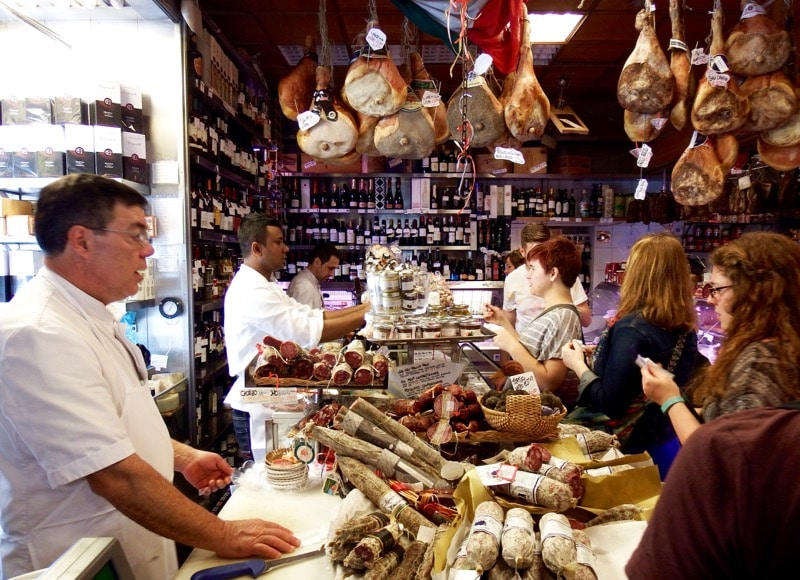 A delicatessen on one of the stops on the Taste of Testaccio food tour in Rome.