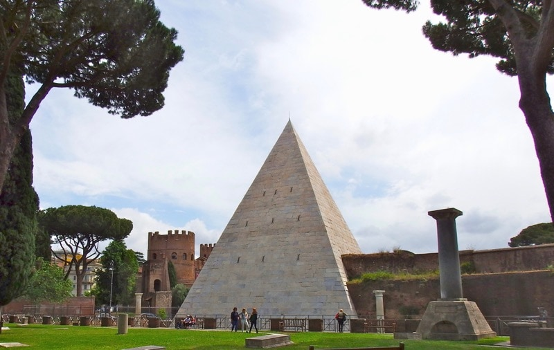View of Testaccio's Pyramid of Cestius, an often overlooked treasure in Rome.