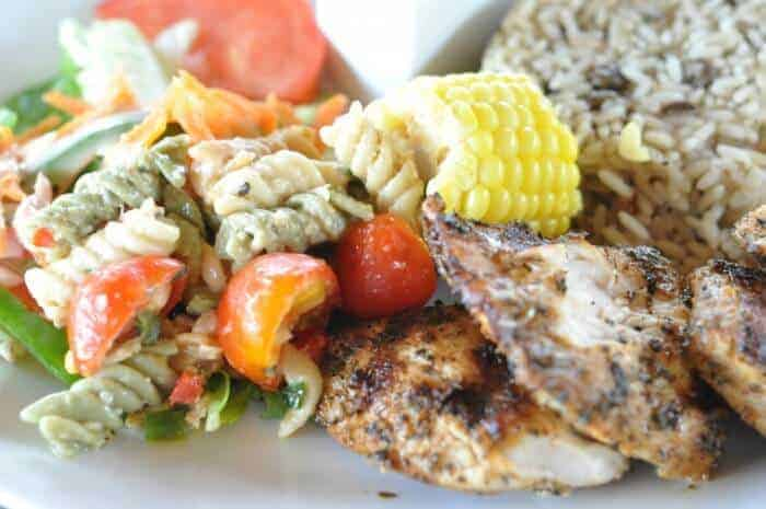 pasta salad and corn are popular sides