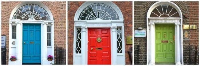 Trio of colourful Georgian doors in Dublin