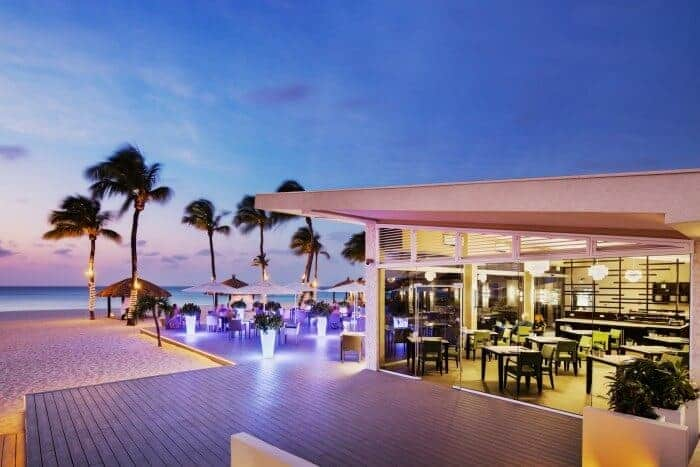 Elements Restaurant at sunset Credit Bucuti & Tara Beach Resorts