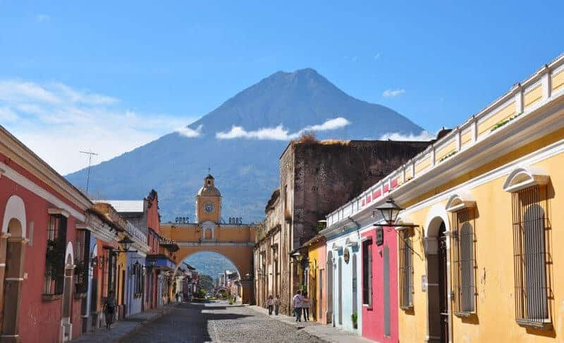 View of Antigua Guatemala with the Agua volcano in the background