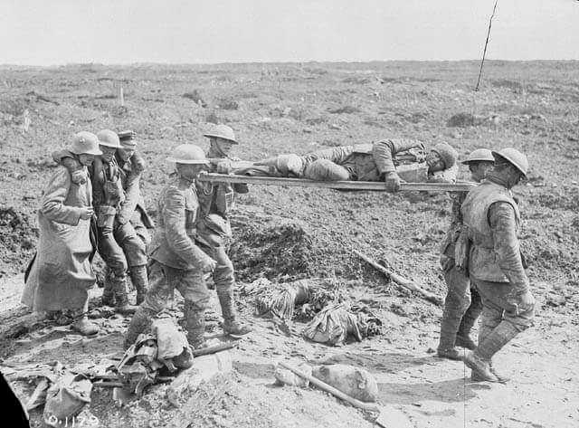 Stretcher Bearers at Vimy Ridge 1917 Library Archives