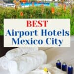 Collage of two hotels at Mexico City International Airport. t