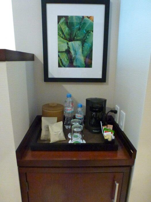 In-room coffee and water at Courtyard Mexico City Airport Hotel