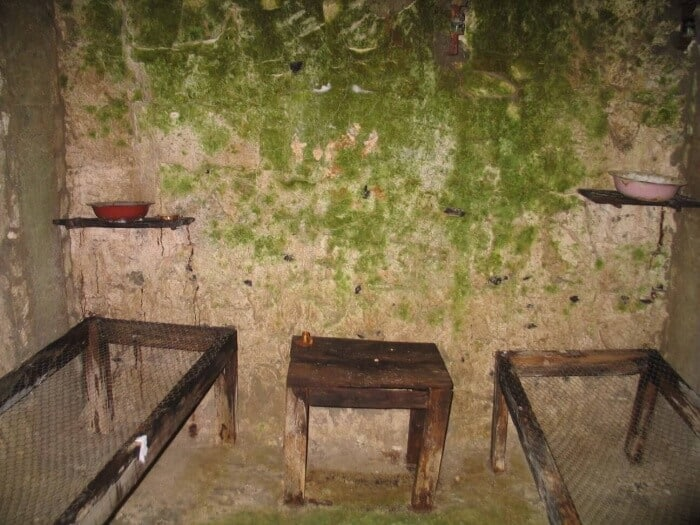 Wooden bed frames in a sleeping tunnel at Vimy Ridge France