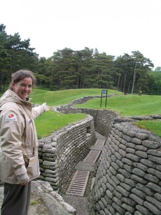 Guide at Vimy Ridge trench