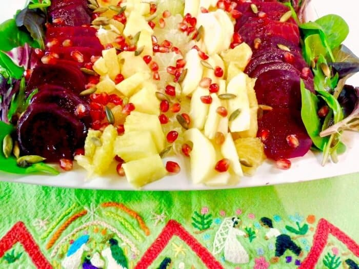 Easy recipe for delicious Ensalada de Nochebuena - Christmas Eve salad from Mexico makes a bright side dish and can be served any time of the year