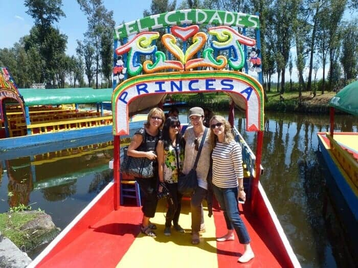 A trajinera or Mexican gondola in Xochimilco Mexico City