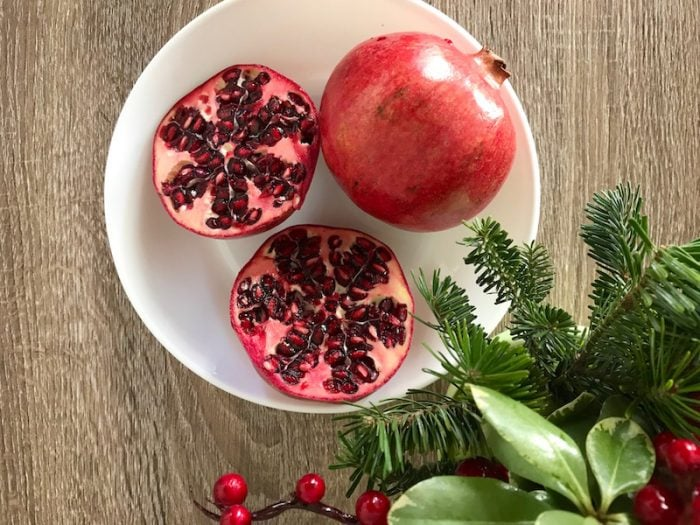Pomegranates on a table at Christmas