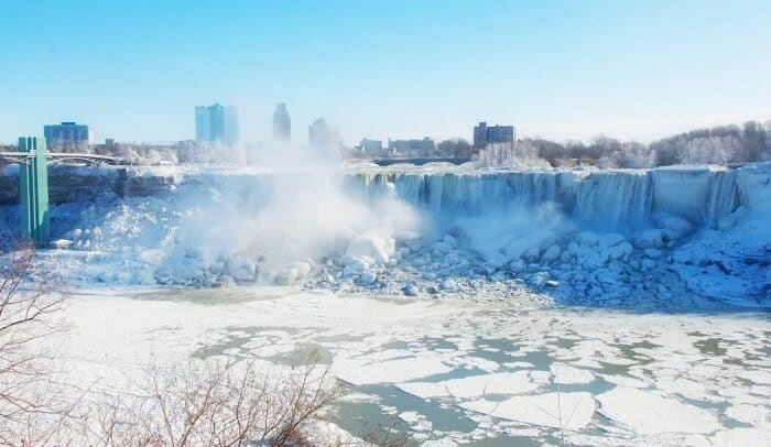 View of the American Falls from Niagara Falls in winter