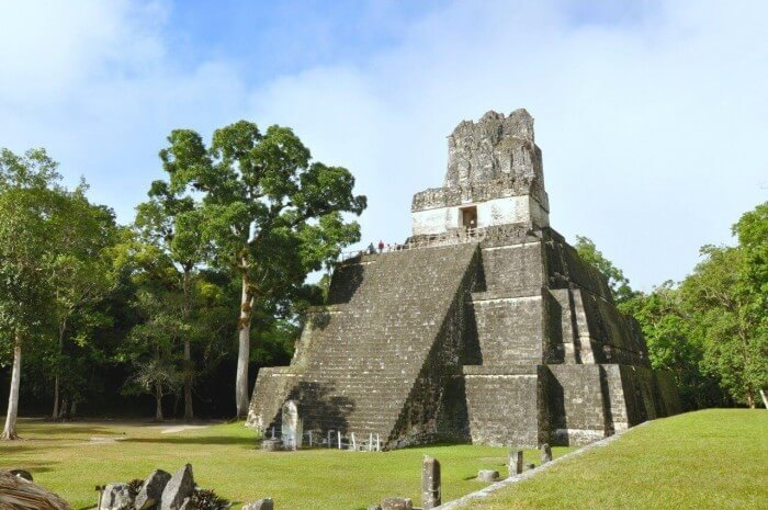 Pyramid at archeological ruins of Tikal in Guatemala.