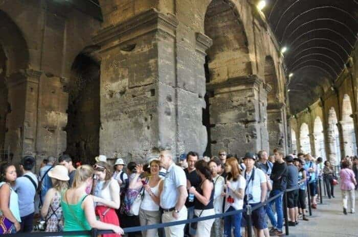 Standing in line at the Colosseum Rome