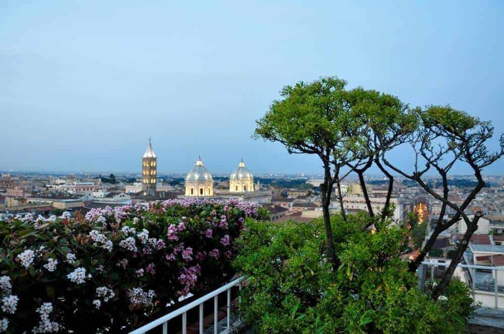 night view of Santa Maria Maggiore room from Bettoja Mediterraneo Hotel.