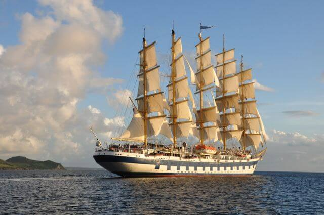 Royal Clipper sailing off St Kitt's