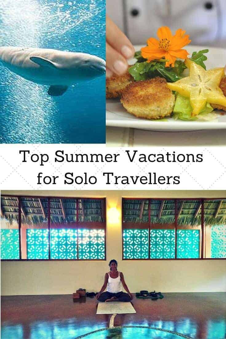 Collage of women doing yoga, taking a cooking class and other summer vacation ideas for solo travel.
