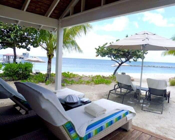 View of Pinney's Beach from the beach cabana at Four Seasons Nevis