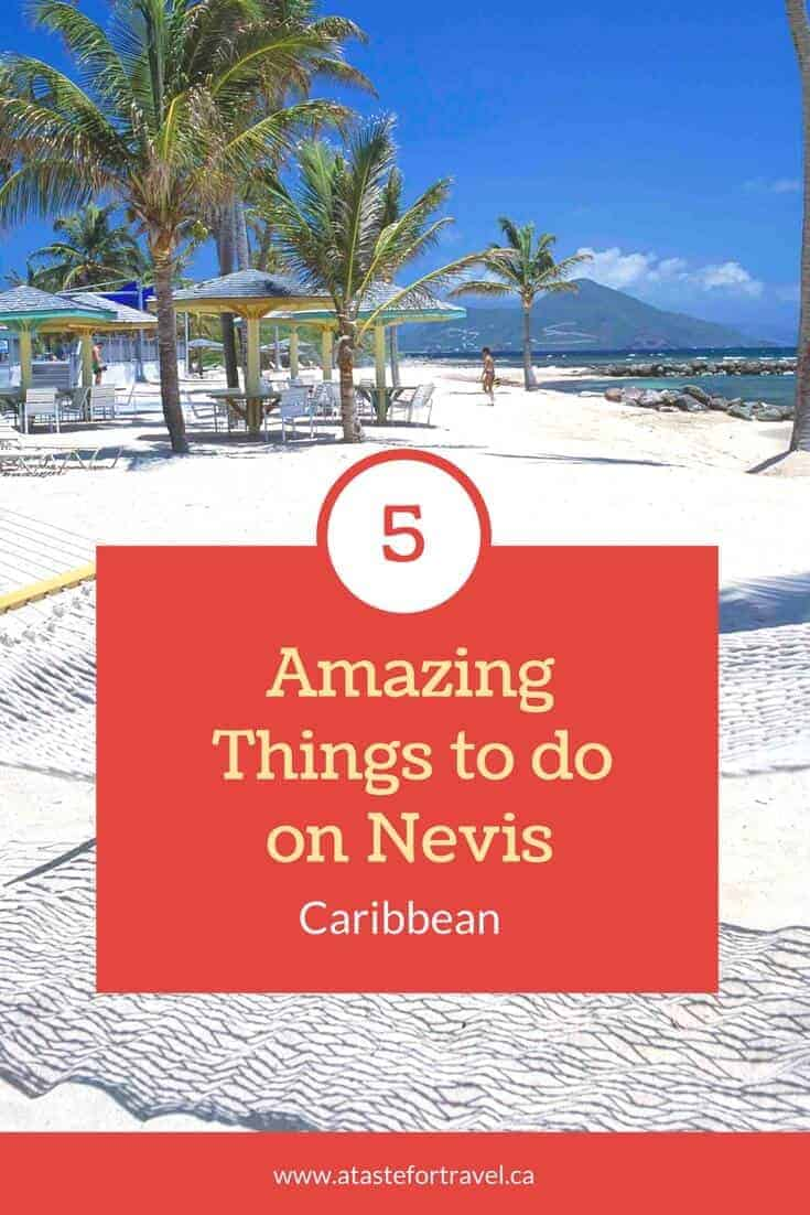 White sand beach on Nevis with text overlay for Pinterest.