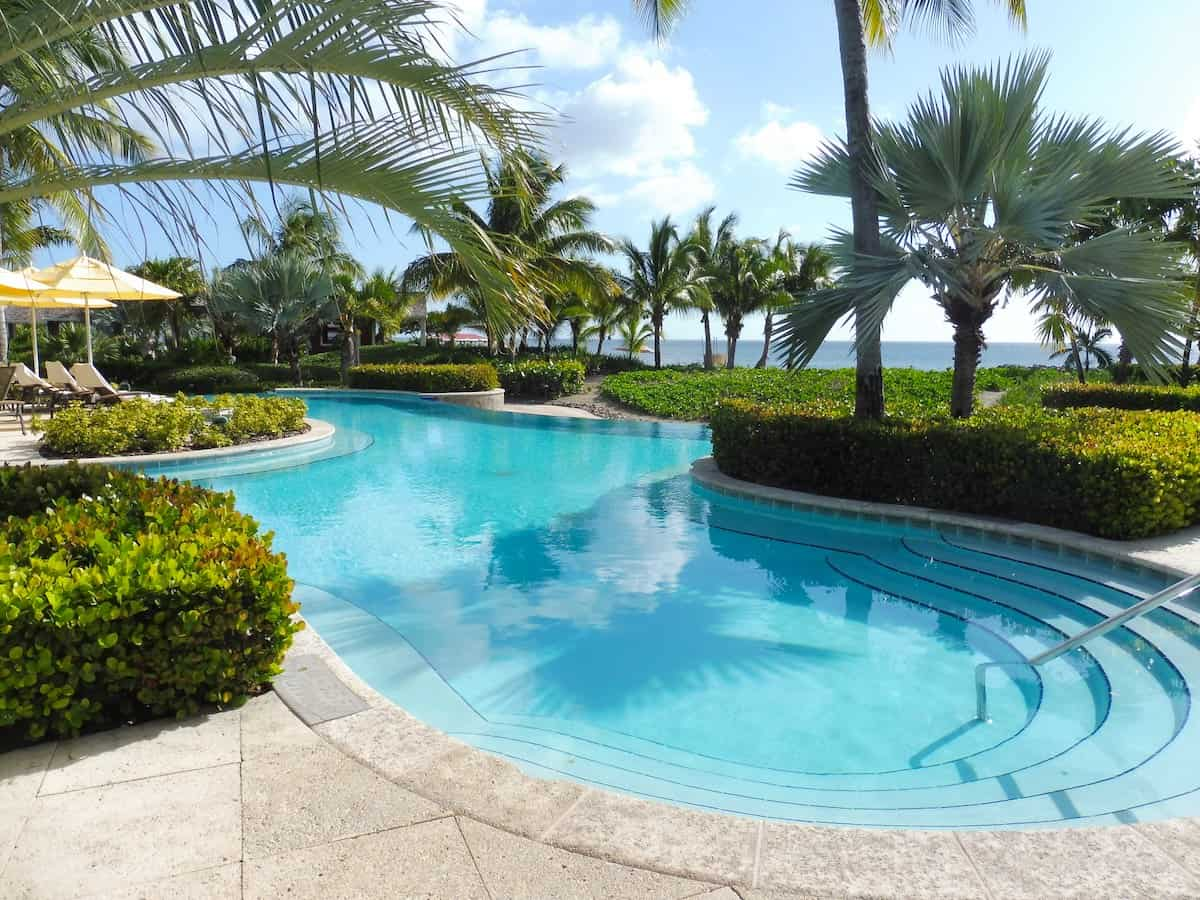 Freeform swimming pool at the Four Seasons Nevis.