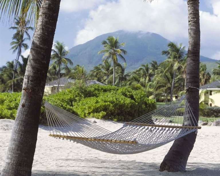 Hammock with Mount Nevis in the background Credit Nisbet Plantation