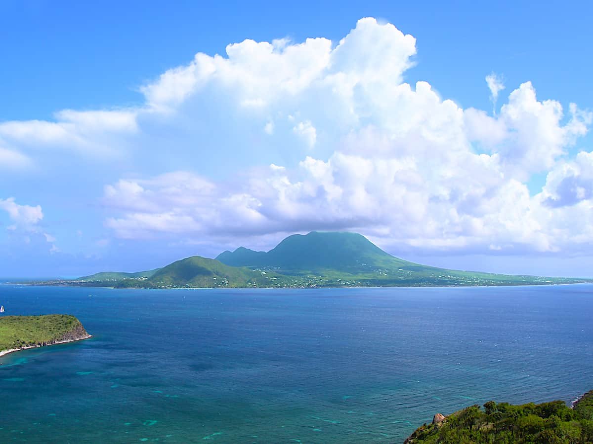 View of the Caribbean Island of Nevis.