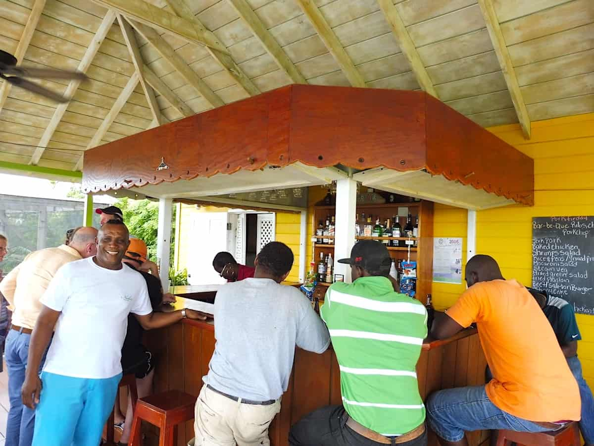 Men at a bar in Nevis.