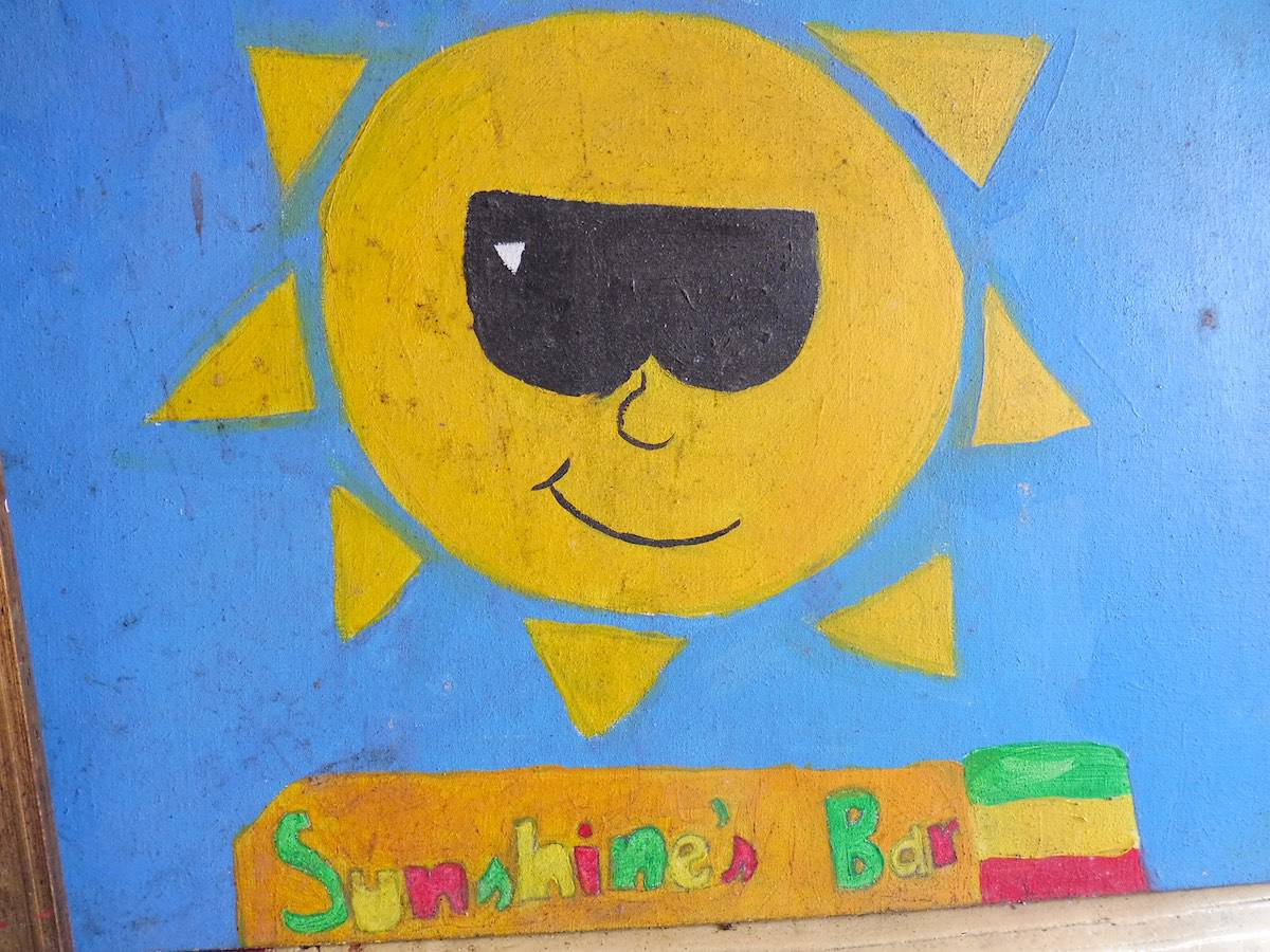 Painted wall from Sunshine's Beach Bar in Nevis.