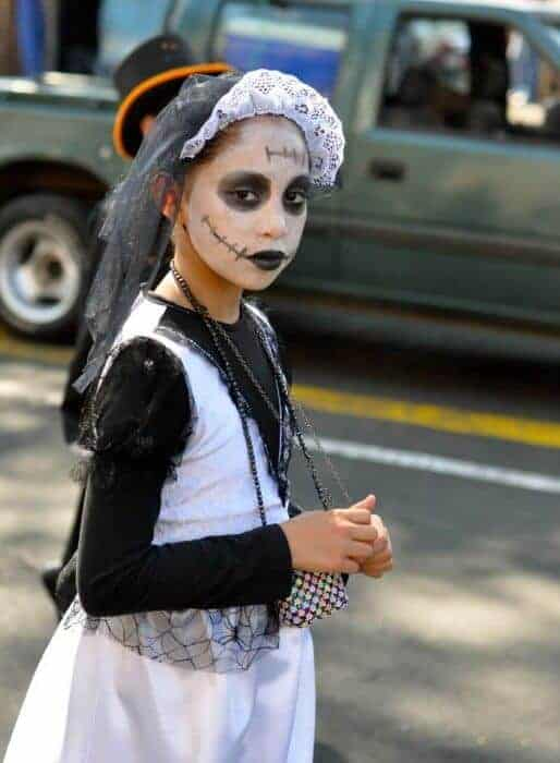 Young girl on Day of the Dead in Mexico