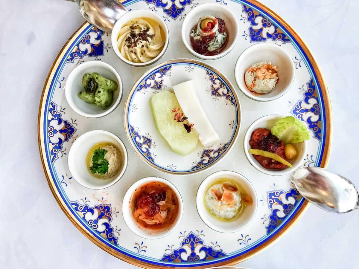 Beautiful mezze platter at Tuğra Restaurant in Istanbul.