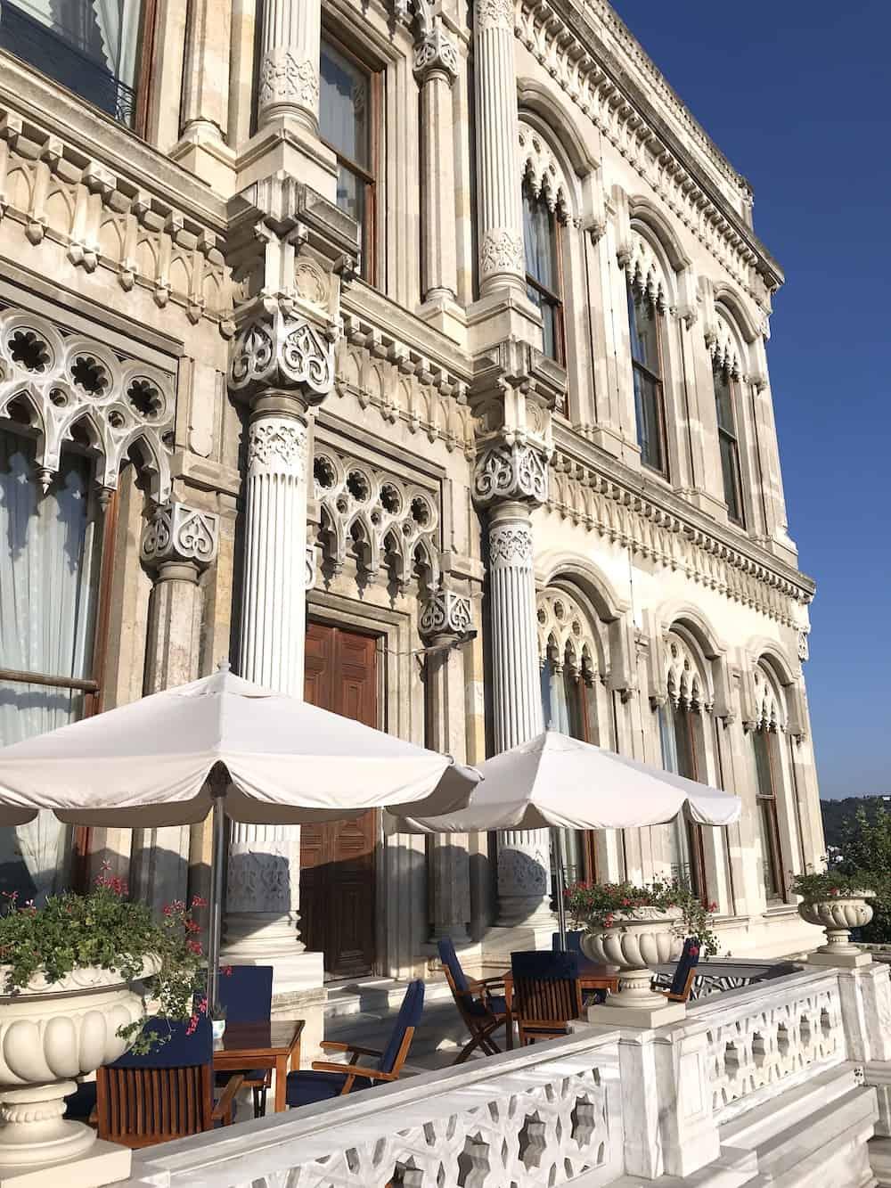 Patio of elegant Tugra Restaurant in Istanbul.