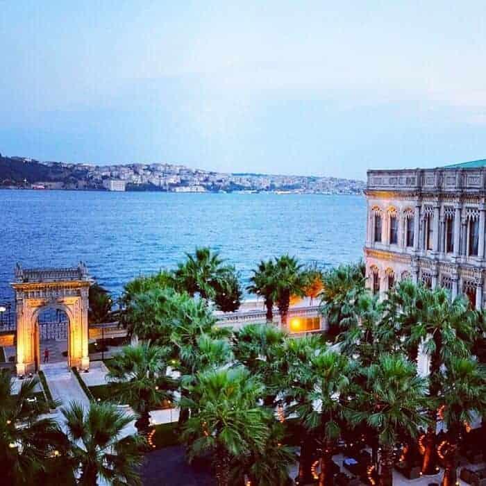 View of the outdoor lounge at Ciragan Palace Kempinski Istanbul.