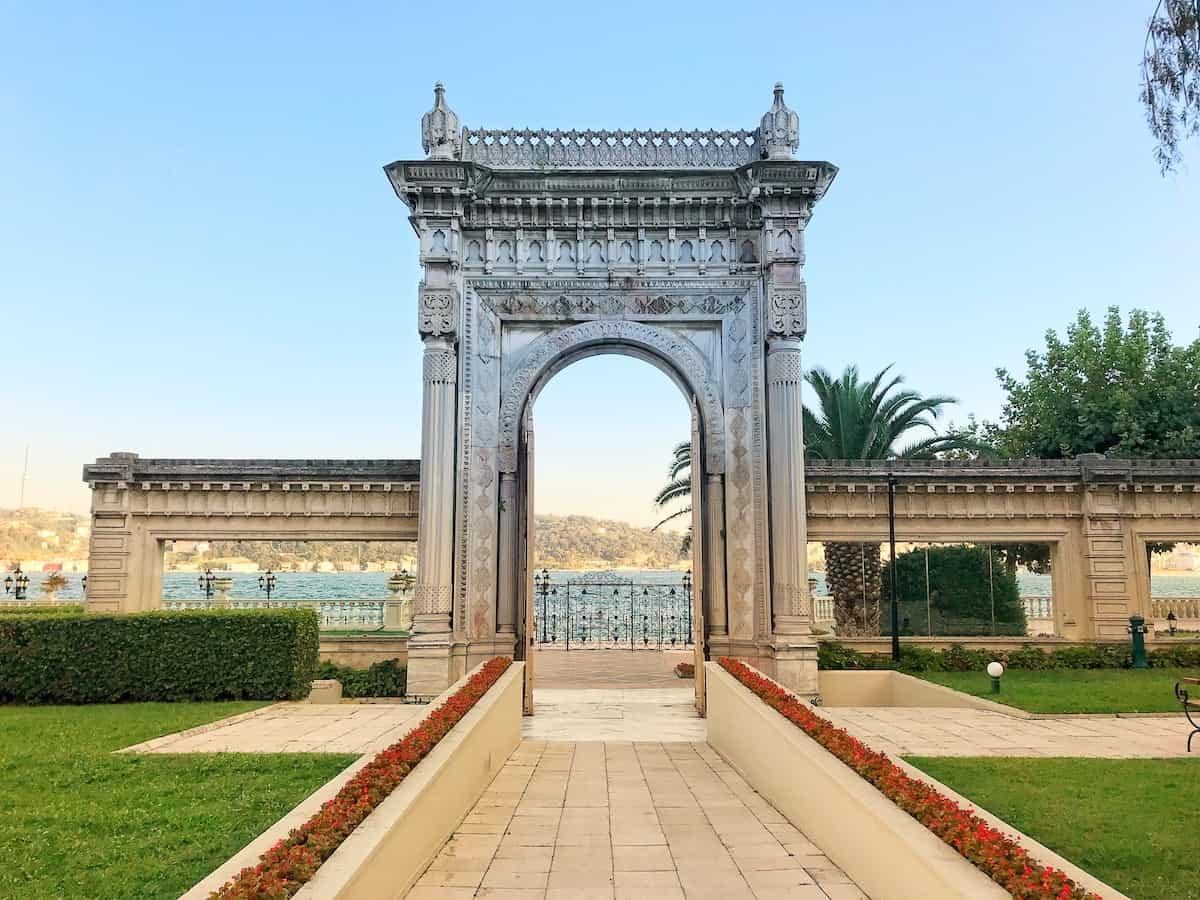 The monumental historic gate opening to the Bosphorus at Ciragan Palace.