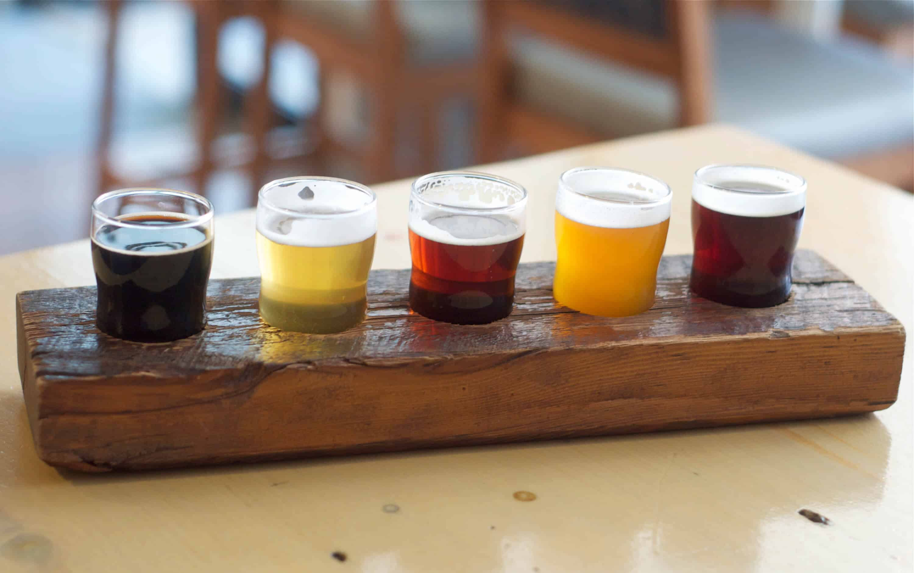 A flight of craft beer at Indie Alehouse