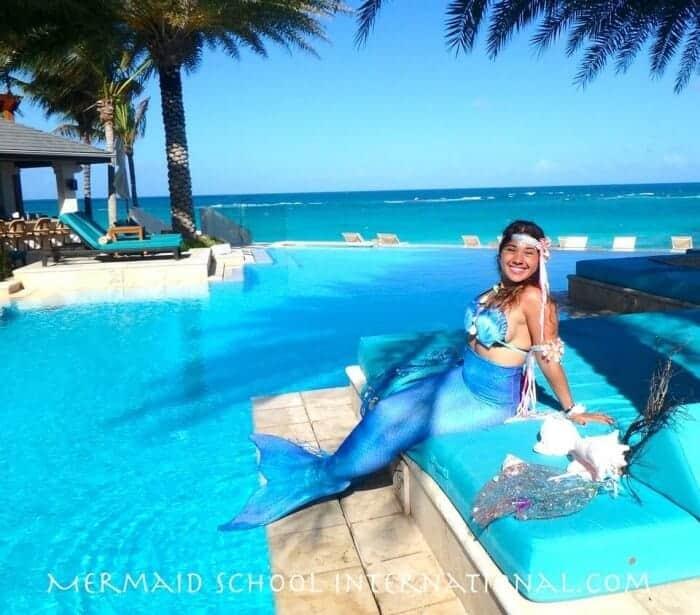 Play mermaid at Mermaid School International at Anguilla's Zemi Beach House