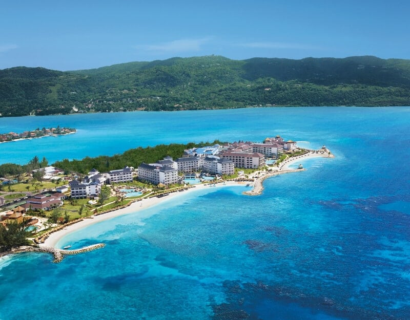 Aerial view of All-inclusive Secrets St. James and Secrets Wild Orchid resorts in Jamaica