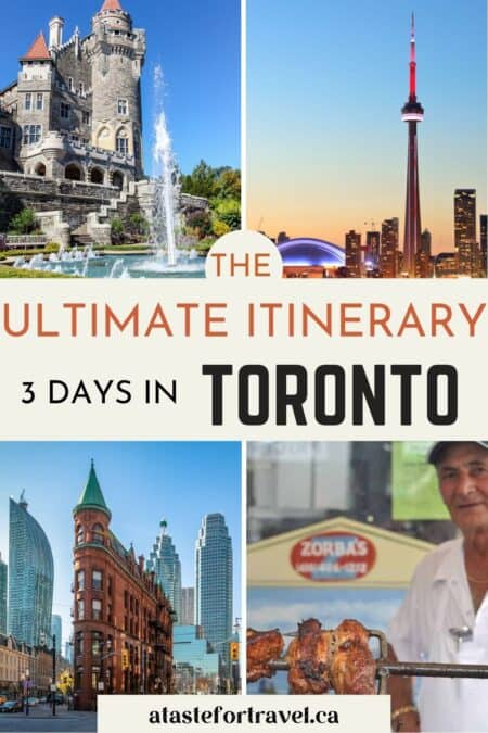 Collage of Toronto attractions with text overlay for Pinterest.