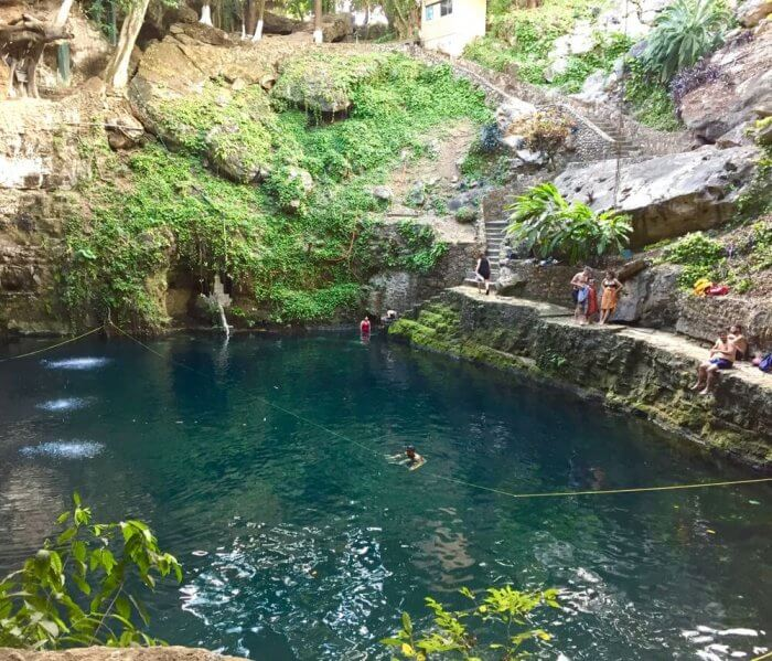 Bring your bathing suit for a swim in Cenote Zací in the heart of Valladolid