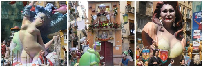 Fallas or monuments ready for torching in Valencia