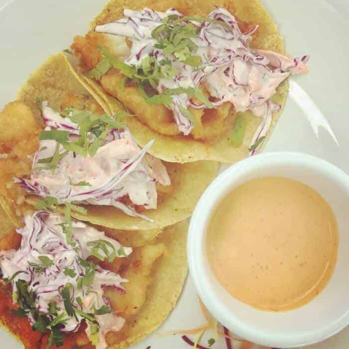 Fish tacos Baja style at Kool Beach Club