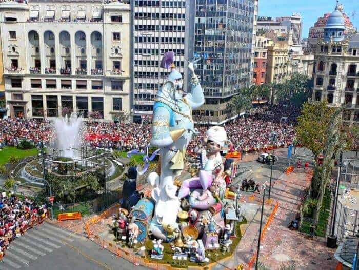 A giant sculpture ready to be torched during Las Fallas Festival of Valencia