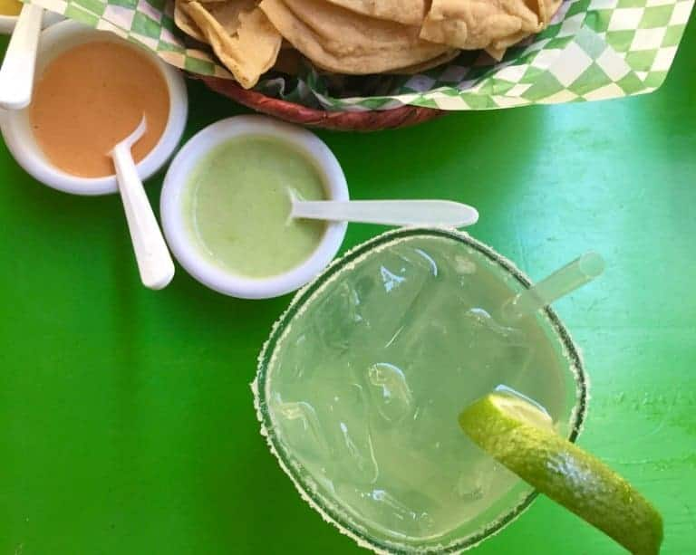 Margarita and taco chips at el Guero