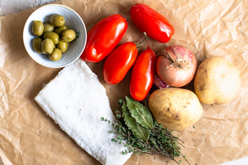 Ingredients for Bacalao a la Vizcaina