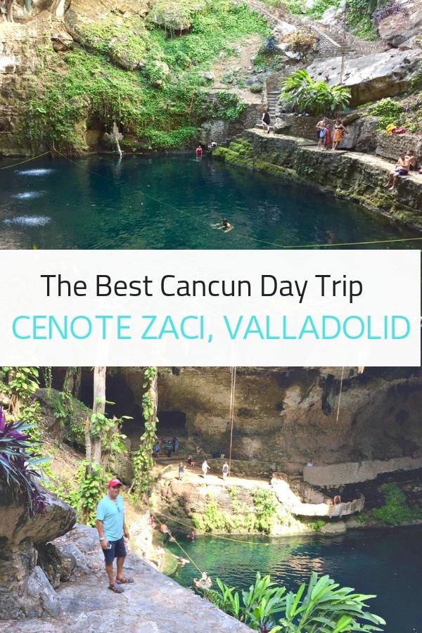 One of the best day trips from Cancun or Tulum Mexico is a visit to Cenote Zaci in Valladolid, just two hours away. This incredible swimming hole is jaw-dropping and beautiful, guaranteed to be one of the most memorable natural wonders you'll ever see. #cancun #Mexico