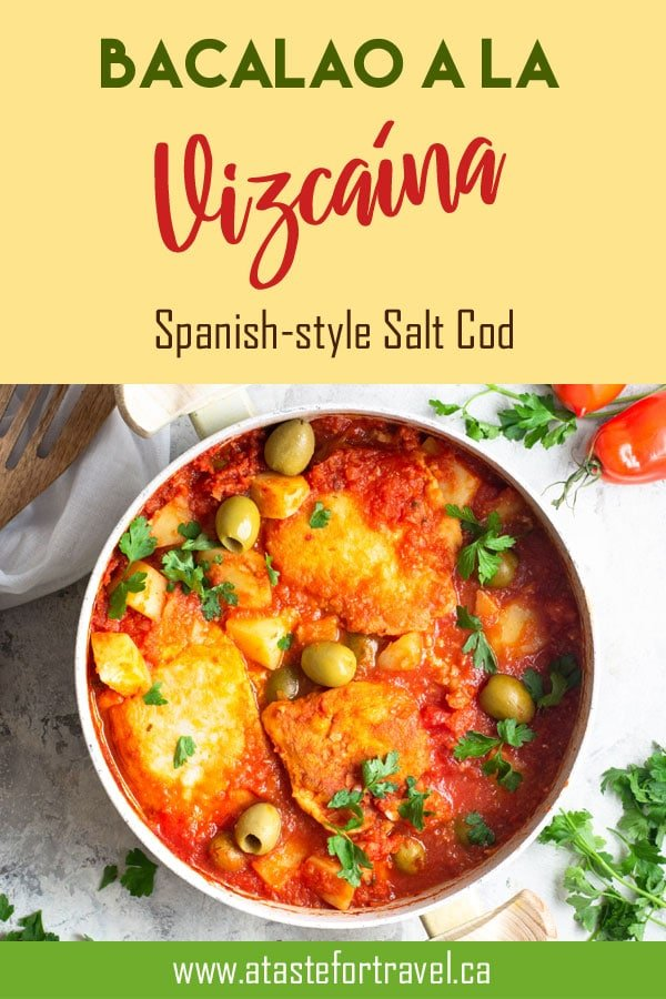 This recipe makes a delicious salt cod dish from the Basque Region of Spain. Bacalao a la Vizcaina is also a popular holiday dish enjoyed in Guatemala, El Salvador, Mexico and Spain during Semana Santa, Christmas and New Year's #Navidad #fish #Easter #Mexico #guatemala