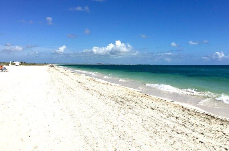 Beautiful white sand beach at Dreams Playa Mujeres north of Cancun.
