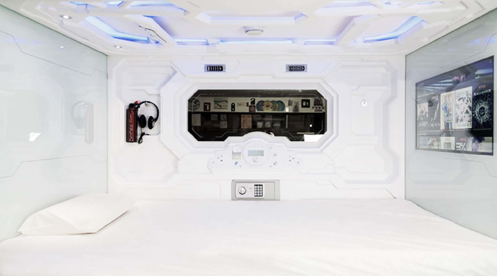Interior of izZzleep pod at Mexico City Airport
