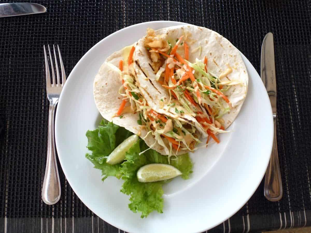 Pair of fish tacos at Blanchard's Beach shack, a family restaurant on Anguilla.