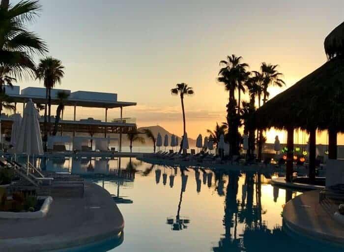 View of main swimming pool at Paradisus Los Cabos, Mexico.