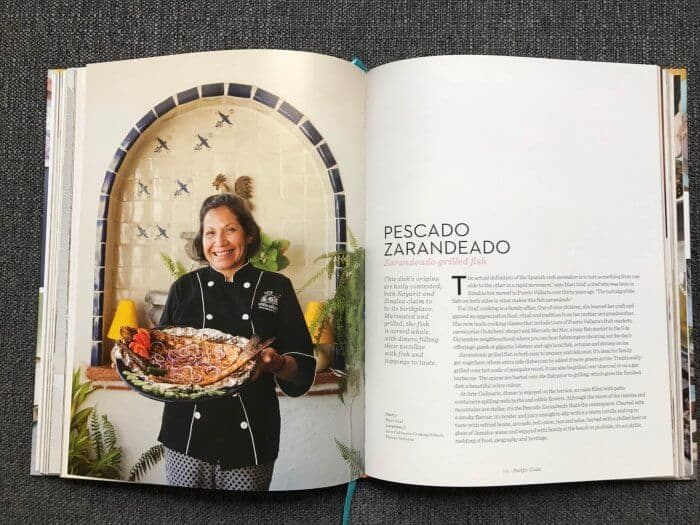 Chef Mavi Graf and Pescado Zarandeado displayed in Lonely Planet's Mexico cookbook.