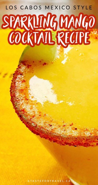 This sparkling mango cocktail celebrates the spirit of Los Cabos Mexico with its refreshing mix of ripe fruit and lemonade with a splash of tequila, vodka or mezcal #cocktail #mango